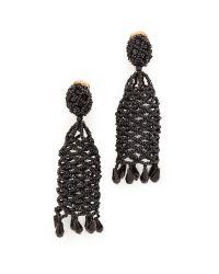 Oscar de la Renta - Black Crochet Beaded Clip On Earrings - Lyst