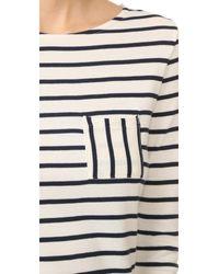 Petit Bateau - White 1x1 Iconic Striped Pocket Tee - Lyst