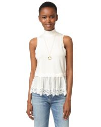 Rebecca Taylor   Blue Sleeveless Top With Lace   Lyst