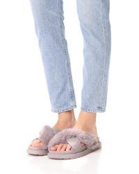 Sam Edelman | Gray Bianca Faux Fur Sandals | Lyst