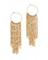 Serefina - Metallic Long Fringe Hoop Earrings - Lyst