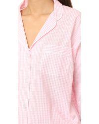 Sleepy Jones - Pink Small Gingham Marina Pajama Shirt - Lyst