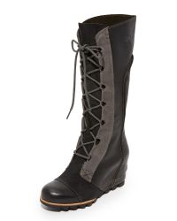 Sorel | Black Cate The Great Wedge Boots | Lyst