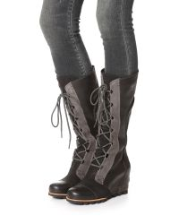 Sorel Black Cate The Great Wedge Boots