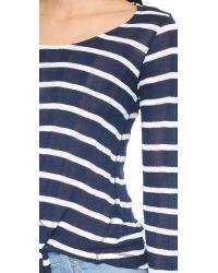 Splendid - White Huntington Stripe Long Sleeve Tee - Lyst