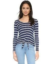 Splendid - White Huntington Stripe Long Sleeve Tee - Lyst