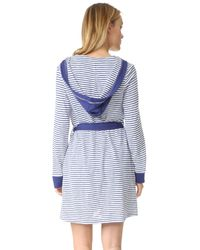 Splendid   Blue Hooded Cotton Blend Robe   Lyst