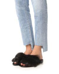 Tibi - Black Kellen Fur Flats - Lyst