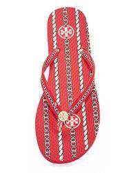 Tory Burch - Red Thin Flip Flops - Lyst