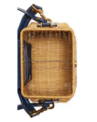 Tory Burch Blue Rattan Straw Cabas Bag