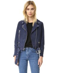 ThePerfext - Blue Suede Moto Jacket - Lyst