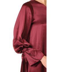 Tanya Taylor Red Satin Viscose Leah Dress