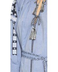 Ulla Johnson Blue Odessa Embroidered Chambray Dress