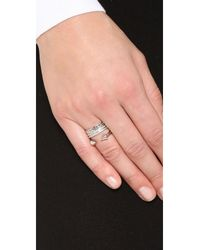 Vita Fede - Metallic Triple Chain Crystal Titan Ring - Lyst