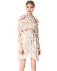 Zimmermann Multicolor Stranded Tier Mini Dress