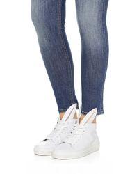 Minna Parikka Orange White Leather Bunny Ears High Top Sneakers