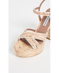 Tabitha Simmons Natural Hensley Grosgrain-trimmed Cork Platform Sandals Sand