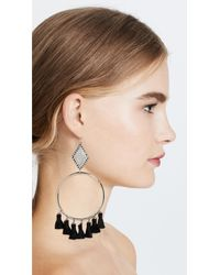 Vanessa Mooney - Black Ania Tassel Hoop Earrings - Lyst