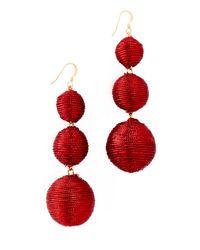 Kenneth Jay Lane - Red 3 Tier Ball Drop Earring - Lyst