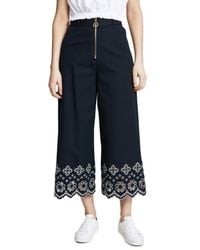 10 Crosby Derek Lam - Blue Wide Leg Pants With Eyelet - Lyst