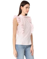 Rebecca Taylor Pink Sleeveless Pop Pleat Top