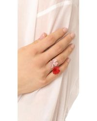 Marni | Red Ring With Metal Flower | Lyst