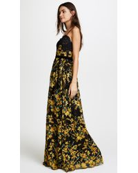 Notte by Marchesa Black Embroidered Gown With Lace Bodice