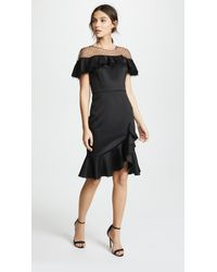 3be94f03b33 Marchesa notte. Women s Black Neoprene Cocktail Dress With Point D esprit  Yoke   Ruffles