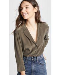 L'Agence - Green Amlina 3/4 Sleeve Pocket Blouse - Lyst