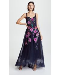 b1c0c098 Marchesa notte. Women's Blue Corseted High Low Gown With Feather Embroidery