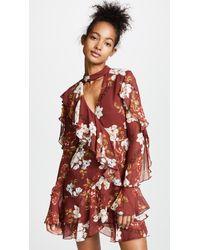 Nicholas Red Celeste Long Sleeve Wrap Mini Dress