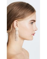 Oscar de la Renta White Short Tassel Earrings
