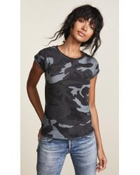 Free People Camo Clare Tee (black Combo) Women's T Shirt