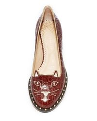 Charlotte Olympia Brown Kitty Cat Flats