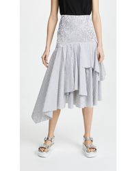 Kendall + Kylie White Seersucker Convertible Ruched Skirt