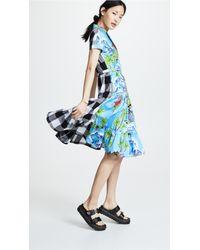 Stella Jean Blue Tropical Gingham Shirtdress