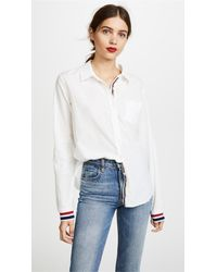 Stateside White Statetrack Oxford Shirting Button Down Shirt