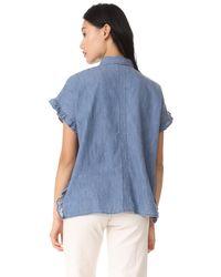 Madewell - Blue Indigo Ruffle Side Shirt - Lyst