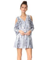 Alice + Olivia | Blue Jolene Cold Shoulder Smocked Waist Dress | Lyst