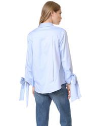 CLU - Blue Bow Tie Cuff Shirt - Lyst