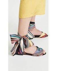 Monse Multicolor Rainbow Ankle Wrap Flat Sandals