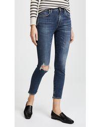 Agolde Blue Sophie High Rise Skinny Crop Jeans