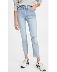 Re/done Blue 90s High Rise Ankle Crop Jeans
