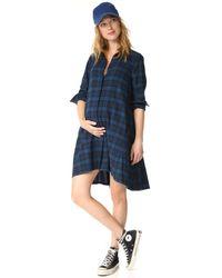 HATCH - Blue Maggie Flannel Dress - Lyst