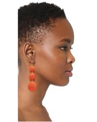 Kenneth Jay Lane | Multicolor Triple Graduated Coral Thread Wrapped Balls Fishhook Top Ear Earrings | Lyst