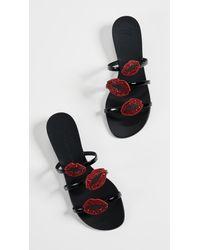 Giuseppe Zanotti Black Strappy Lip Sandals