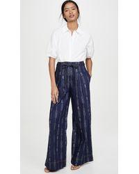 Tory Burch Blue Gemini Jacquard Denim Trousers