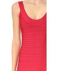Hervé Léger | Red Signature Essentials Scoop Neck Dress | Lyst