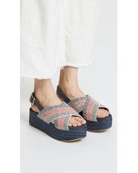 Paloma Barceló Blue Veronica Flatform Espadrille Sandals