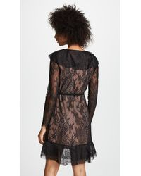 For Love & Lemons Black Daphne Lace Wrap Dress